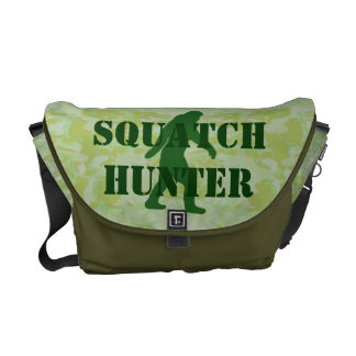 Gone squatchin bigfoot on green camo messenger bag