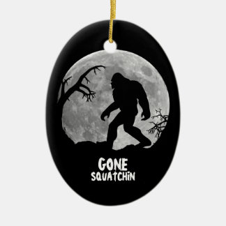 Gone Squatchin - Bigfoot silhouette with moon Christmas Ornaments