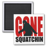 Gone Squatchin - Black and Red 2 Inch Square Magnet