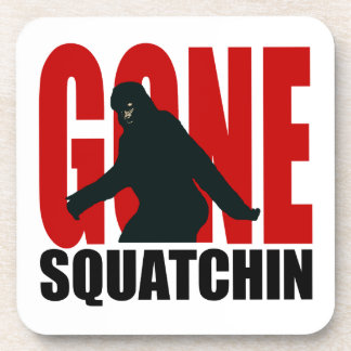 Gone Squatchin - Black and Red Beverage Coaster