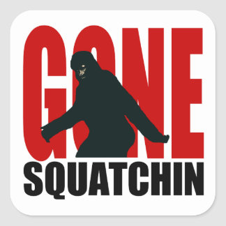 Gone Squatchin - Black and Red Square Sticker
