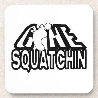 Gone Squatchin Black And White Logo Coaster