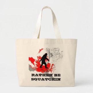 Gone Squatchin black bigfoot Canvas Bags