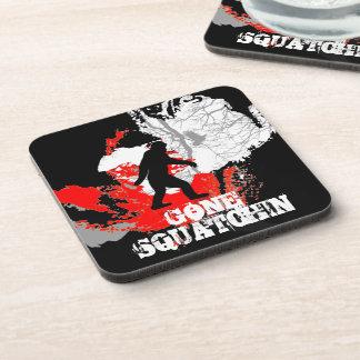 Gone Squatchin, black bigfoot Beverage Coaster