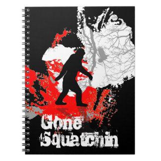 Gone Squatchin, black bigfoot Spiral Notebook