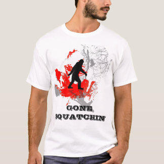 Gone Squatchin, black bigfoot T-Shirt