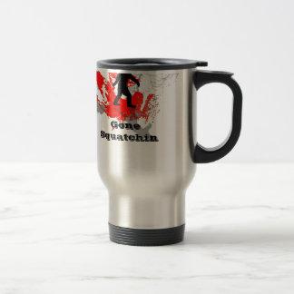 Gone Squatchin, black bigfoot Travel Mug