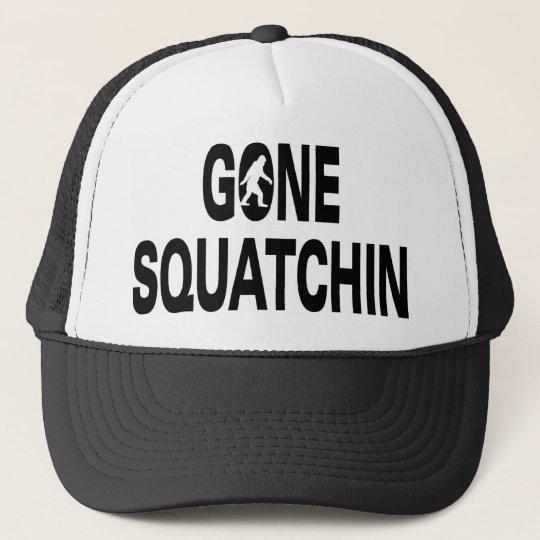 Gone squatchin black text trucker hat