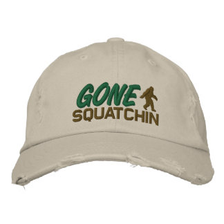 Gone Squatchin - black white and green Baseball Cap