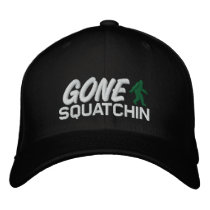 Gone Squatchin - black white and green Embroidered Baseball Hat