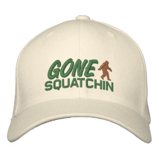 Gone Squatchin - brown and green Embroidered Hat