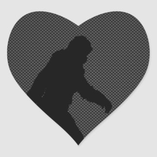 Gone Squatchin Charcoal Carbon Fiber Print Heart Sticker