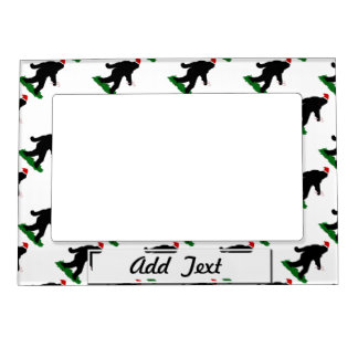 Gone Squatchin Christmas Squatchin Picture Frame Magnet