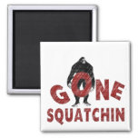 Gone Squatchin - Crayon Style Squatcher 2 Inch Square Magnet