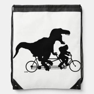 Gone Squatchin cycling with T-rex Drawstring Bag