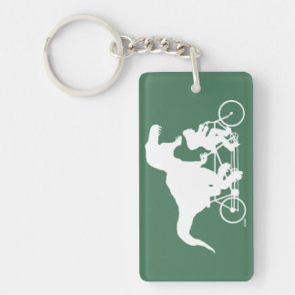 Gone Squatchin cycling with T-rex Keychain