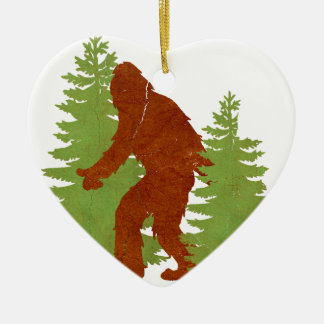 Gone Squatchin Double-Sided Heart Ceramic Christmas Ornament
