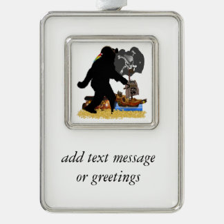 Gone Squatchin' Fer Buried Treasure Silver Plated Framed Ornament