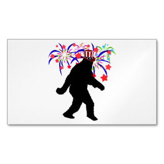 Gone Squatchin for 4th of July Fireworks Magnetic Business Cards (Pack Of 25)