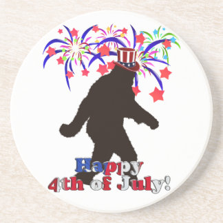 Gone Squatchin  for 4th of July (Text & Fireworks) Drink Coaster