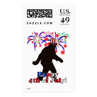 Gone Squatchin  for 4th of July (Text & Fireworks) Stamp