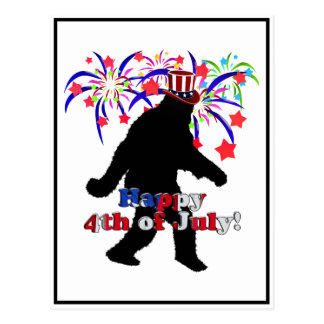 Gone Squatchin  for 4th of July (Text & Fireworks) Postcard