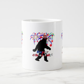 Gone Squatchin for 4th of July Text Fireworks Jumbo Mug