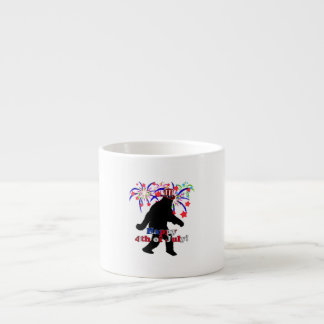 Gone Squatchin for 4th of July Text Fireworks Espresso Mugs