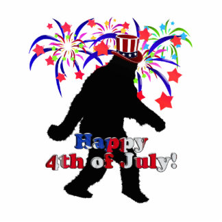 Gone Squatchin  for 4th of July (Text & Fireworks) Statuette