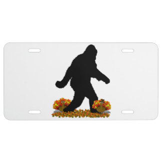 Gone Squatchin for Thanksgiving Turkey Dinner License Plate