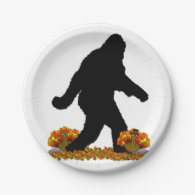 Gone Squatchin for Thanksgiving Turkey Dinner 7 Inch Paper Plate
