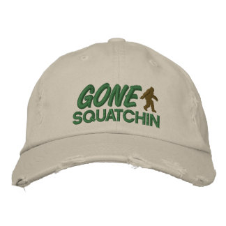 Gone Squatchin - green and brown stitching Embroidered Hat