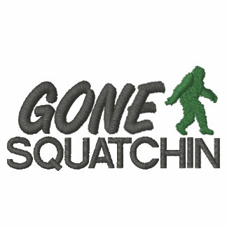 Gone Squatchin Green and Gray Stitching Embroidered Hooded Sweatshirts