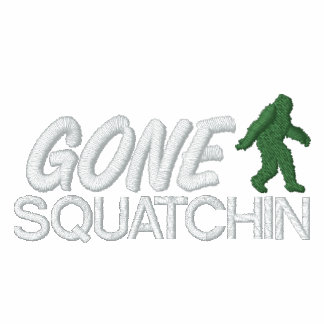 Gone Squatchin Green and White Stitching Embroidered Hoodie
