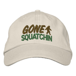 Gone Squatchin - Green & Brown Embroidered Baseball Cap
