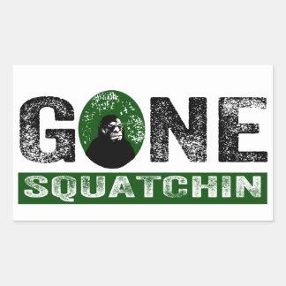 Gone Squatchin (Green) Grunge Squatch Rectangular Stickers