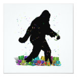 "Gone Squatchin' In The New Year 5.25"" Square Invitation Card"