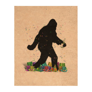 Gone Squatchin' In The New Year Cork Paper Print