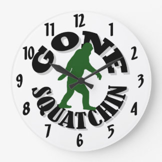 gone Squatchin Large Clock
