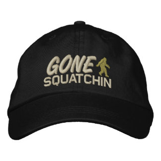 Gone Squatchin - oat tan and light green Embroidered Baseball Hat