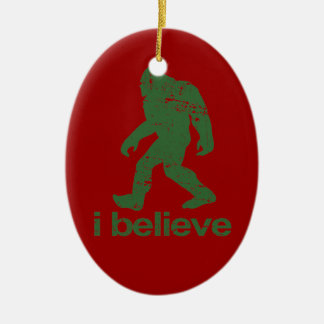 Gone Squatchin - red and green Christmas Ornament