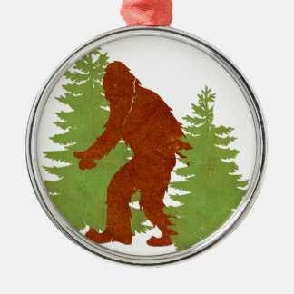 Gone Squatchin Round Metal Christmas Ornament