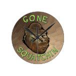 Gone Squatchin Round Wallclocks