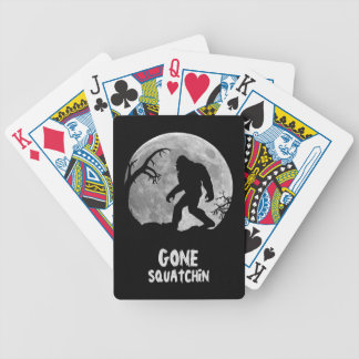Gone Squatchin, sasquatch silhouette with moon Bicycle Playing Cards
