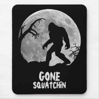 Gone Squatchin, sasquatch silhouette with moon Mouse Pad