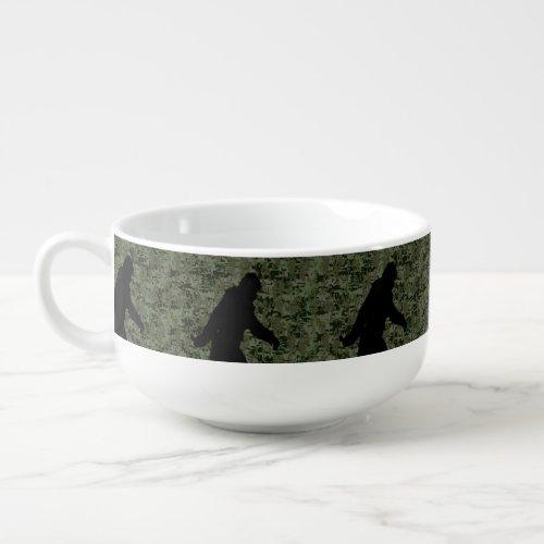 Gone Squatchin Silhouette on Digital Camouflage Soup Mug