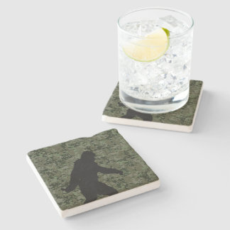 Gone Squatchin Silhouette on Digital Camouflage Stone Coaster
