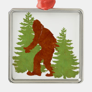 Gone Squatchin Square Metal Christmas Ornament
