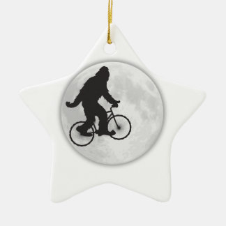 GONE SQUATCHIN SQUATCHY SQUATCH BIKE RIDING MOON Double-Sided STAR CERAMIC CHRISTMAS ORNAMENT