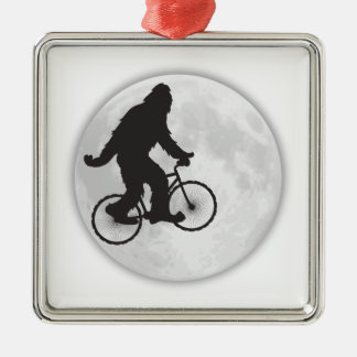 GONE SQUATCHIN SQUATCHY SQUATCH BIKE RIDING MOON SQUARE METAL CHRISTMAS ORNAMENT